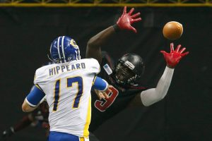 Storm quarterback Randy Hippeard attempts a pass. Image credit: Orlando Predators/Don Montague
