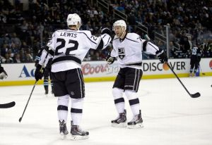 Trevor Lewis celebrates his goal with teammate Jeff Carter Image credit: Erza Shaw/Getty Images