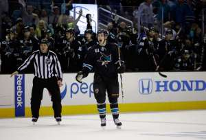 Justin Braun reacts to his goal. Image credit: Erza Shaw/Getty Images