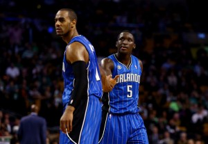 Teammates Victor Oladipo and Arron Afflalo against the Boston Celtics. (Photo Credit: Alex Trautwig/Getty Images)